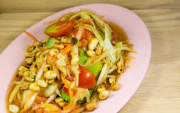 Thai papaya salad said  somtam thai. The Thai papaya salad said  somtam thai Royalty Free Stock Photo