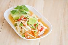 Thai papaya salad serve with vegetables Stock Image