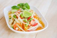 Thai papaya salad serve with vegetables Royalty Free Stock Photography