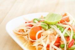 Thai papaya salad serve with vegetables Stock Photos