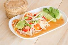 Thai papaya salad serve with vegetables Royalty Free Stock Image