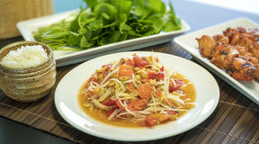 Thai papaya salad Som Tum. Thai papaya salad also known as Som Tum from Thailand Stock Photo