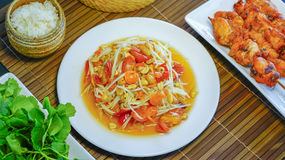 Thai papaya salad Som Tum. Thai papaya salad also known as Som Tum from Thailand Stock Photos