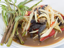 Thai papaya salad (Som Tum). Famous Thai food, papaya salad or what we called Somtum in Thai Stock Photography
