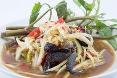Thai papaya salad (Som Tum). Famous Thai food, papaya salad or what we called Somtum in Thai royalty free stock photo