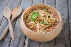 Thai Papaya Salad Som tum Thai. In wood bowl Stock Images