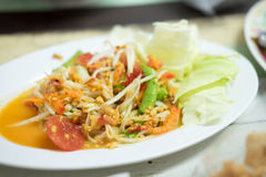 Thai papaya salad, Som Tum. From Thailand Royalty Free Stock Photo