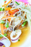 Thai Papaya Salad. (somtam). Thai Papaya Salad hot and spicy, mixed vegetable and seafood Royalty Free Stock Photography