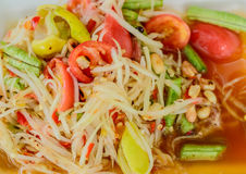 Thai papaya salad. Thai papaya salad in thailand Stock Photos