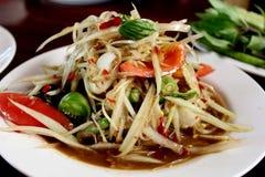 Food: Thai papaya salad Stock Photo