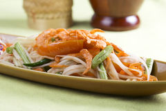 Thai Papaya salad topping with dry shrimp Stock Photos