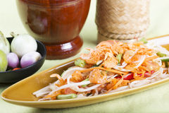 Thai Papaya salad topping with dry shrimp Stock Photography