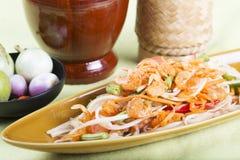 Thai Papaya salad topping with dry shrimp Stock Photography