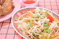 Thai papaya salad. Traditional food of Thailand Royalty Free Stock Image