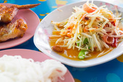 Thai papaya salad traditional Thai food. Som Tum stock photos