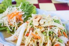Thai papaya spicy salad with crab, Som Tum. Stock Photos