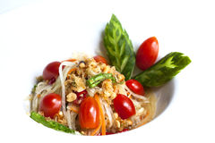 Thai papaya spicy salad or know as Som Tum Stock Photo