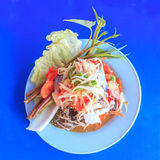Thai papaya spicy salad or Som Tum. With blue crab stock image