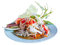 Thai papaya spicy salad or Som Tum with blue crab. Isolate Stock Image