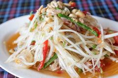 Thai papaya spicy salad, Som Tum,Thailand. Stock Photos