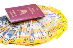 Thai passport and Australian notes Stock Photography