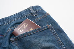Thai passport in back pocket Royalty Free Stock Images