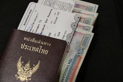 Thai passport with boarding pass and Kyat money of Myanmar on black floor. Thai passport with boarding pass and Kyat money of Myanmar on black floor, the royalty free stock photos