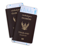 Thai passport with departure card from immigration bureau.Clipping Path.  Stock Images