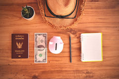 Thai passport and hat .Concept travel stock photos