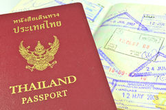 Thai passport and immigration stamps Royalty Free Stock Images