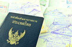 Thai passport and immigration stamps. Close up Thai passport and immigration stamps stock images