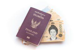 Thai passport with Korea Won currency bank notes Stock Photo