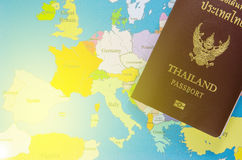 Thai passport lay on europe map Royalty Free Stock Images