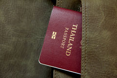 Thai passport. In leather bag royalty free stock image