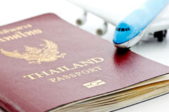 Thai passport with model plane Stock Image