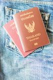 Thai passport. Thailand passport on jeans, Ready to travel around the world Royalty Free Stock Images