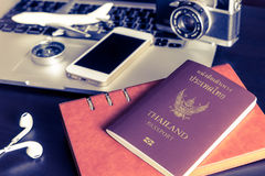 Thai passport with travel objects on office. Table Stock Photography