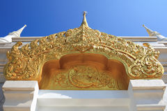 Thai pattern. Thai design on top of temple door Royalty Free Stock Images