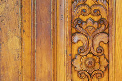 Thai pattern carved wood texture Royalty Free Stock Photo