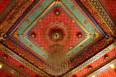 Thai pattern on the ceiling in templ. Thai painting and pattern on the ceiling in temple royalty free illustration