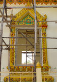 Thai Pattern Design on wall. Traditional Ornament Paint on Temple wall Stock Photo