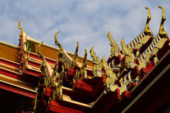 Thai Pattern Roof Church on temple, Bangkok, Thailand Royalty Free Stock Photography