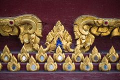 Thai pattern on wall of church at  Wat Rakhang Khositaram. Bangkok ,Thailand royalty free stock photos