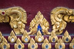 Thai pattern on wall of church at  Wat Rakhang Khositaram. Bangkok ,Thailand stock photos