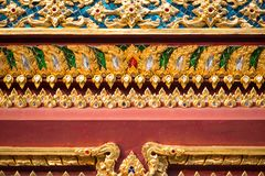 Thai pattern on wall of church at  Wat Rakhang Khositaram. Bangkok ,Thailand royalty free stock photography