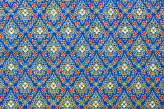Thai Patterns in Blue and Gold  on Silk Fabric. Blue and gold Thai style patterns on silk fabric using for background. You might see these patterns on the wall Stock Image