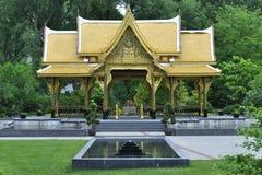 Thai pavilion. Beautiful ornate Thai pavilion at Olbrich botanical gardens in Madison, Wisconsin Royalty Free Stock Photography