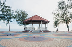 Thai pavilion on the colorful cement block near sea Royalty Free Stock Photography