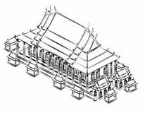 Thai pavilion Drawing. Royalty Free Stock Image