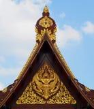 Thai pavilion. Gold art on Thai pavilion roof royalty free stock photo